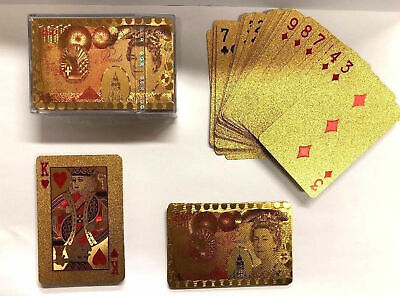 24k Gold Plated Playing Cards Full Poker Deck Pound Queen  Perfect 4 Gift • 4.90£