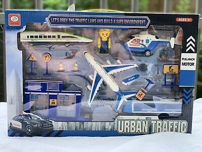 Kids Toys Police Drama Play Set With Airplane Train Helicopter Pull Back Toy Uk • 10.99£