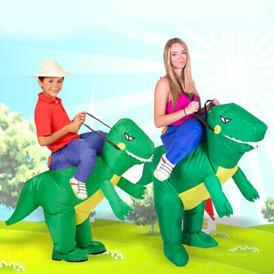 Ride On Dinosaur Costume Inflatable Blow Up Outdoor Toys Fancy Dress Costume • 18.69£