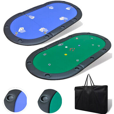 Folding Poker Table Top 10 Players Blackjack Table Casino Chip Tray Blue/Green • 67.75£