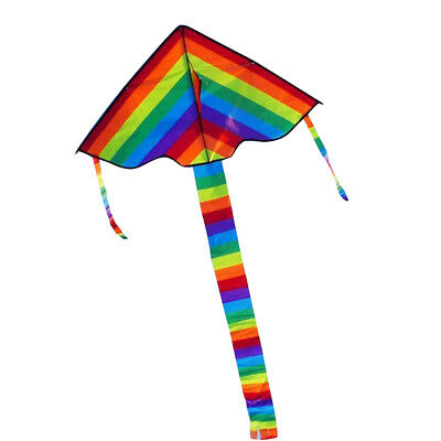 Kids Children Rainbow Long Tail Triangle Kite Outdoor Summer 30M Handle Line Toy • 5.79£