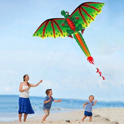 3D D-ragon K-ite Kid Toy Fun Outdoor Flying Activity Game With Tail Play Outdoor • 13.43£