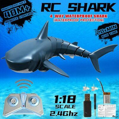2.4G RC Boat Electric Submarine Shark Inflatable Float Swimming Pool Prank Toys • 15.99£