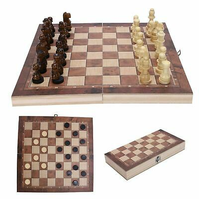3 In 1 Folding Wooden Chess Set Board Game Checkers Backgammon Draughts Gift  • 9.69£