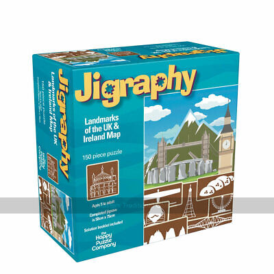 Jigraphy Landmarks Of The UK And Ireland Map 150 Piece Jigsaw Puzzle • 24.99£