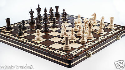 Brand New♞ Hand Crafted Wooden Chess And Draughts Set3 36cm X 36cm ♚ • 27.89£