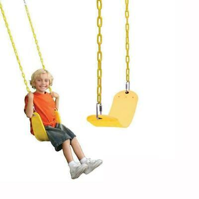 Kids Children Swing Seat Outdoor Chair Sturdy Iron Chain Yellow • 14.89£
