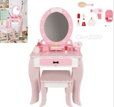 Wooden Dressing Table With Stool Includes Wooden Accessories Doll Pram And Cot • 79.99£