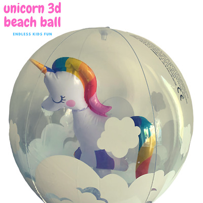 Amazing Large Size 3d Beach Ball Inflatable Unicorn Blow Up Summer Pool Float • 3.99£