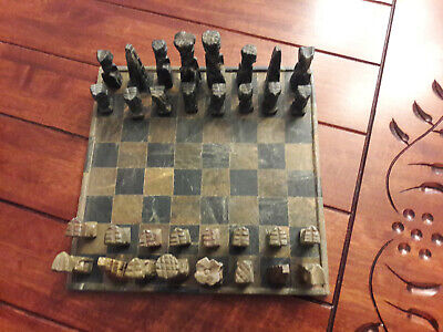 Antique Hand Carved Soapstone Chess Set From Kenya, Africa 1960 Vintage • 195£