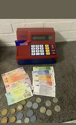 Learning Resources Toy Till Cash Register With Calculator Money Cash Notes Red • 8£