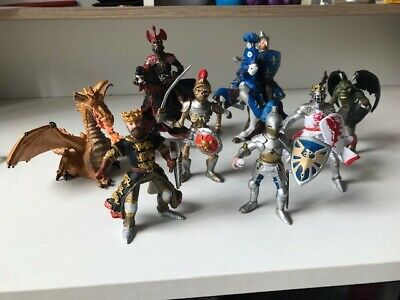 Papo Knights Mixed Action Figure Toys Bundle Of 10 , Used • 15£
