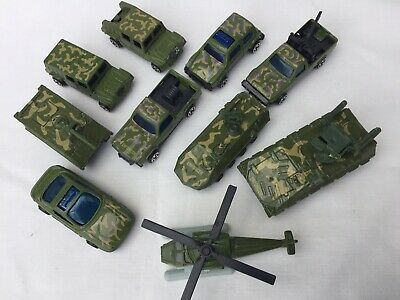 Bundle Of 10 Army Vehicles Jeeps Trucks Tank Helicopter • 0.99£