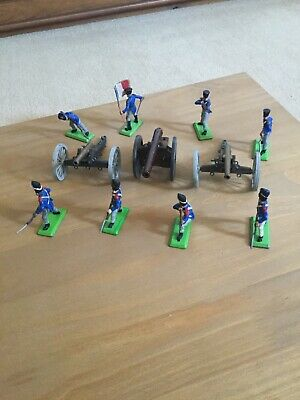 Britains Deetail Napoleonic Waterloo French Infantry X8 Plus 2 Cannons • 12.50£