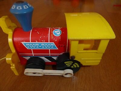 Vintage 1960s Fisher Price Toot Toot Pull Along Train Engine Child Retro Toy 643 • 5£
