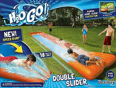 Bestway Kids Inflatable Double Water Slide With Speed Ramp Garden Fun Family • 32.87£