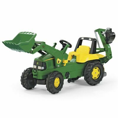 John Deere Kids Tractor With Front Loader And Rear Excavator • 246.99£