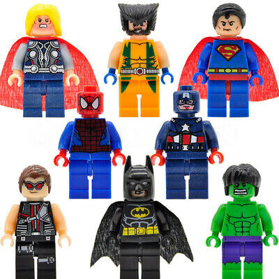 8pcs Kid Toys Lego Marvel Avengers Super Hero Mini Figures Hulk Batman Series • 5.39£