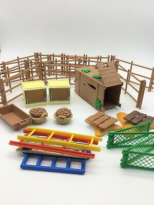 Playmobil Fences,animal Cages,ladders,food,trough And Pen • 7£