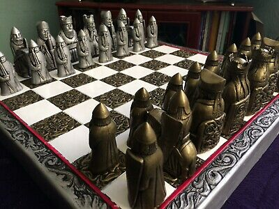 Beautiful Ornate Isle Of Lewis V1, Brass & Silver Metallic Effect Chess Pieces • 69.99£