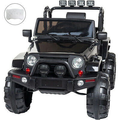 12V Kids Ride On Car Electric With Parental Remote/Wrangler Style Jeep (Black) • 159.99£