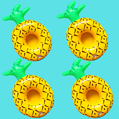 4x Inflatable Drink Holder Pineapple Floating Can Cup Hot Tub Swimming Pool Bath • 3.99£