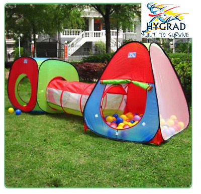 Kids Pop Up Play Tent 3 Piece Adventure House & Crawl Tube Tunnel Game Toy • 16.99£