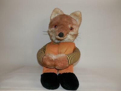 Vintage Fox Stuffed Toy With Bending Knees - Corduroy Dungarees • 49£