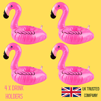 4x Inflatable Drink Holder Flamingo Floating Can Cup Hot Tub Swimming Pool Bath • 3.99£