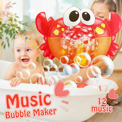Crab Bubble Machine 12 Songs Musical Bubble Maker Baby Children Bath Shower Toy • 7.89£