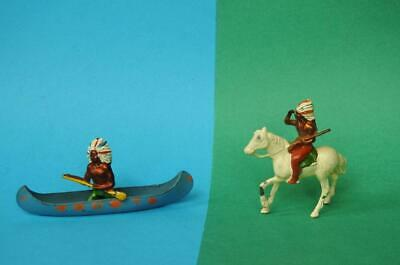 CRESCENT TOYS VINTAGE 1950s WILD WEST LEAD INDIAN IN CANOE & MOUNTED ON HORSE • 39.99£