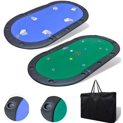 Folding Poker Table Top 10 Players Blackjack Table Casino Chip Tray Blue/Green • 74.79£