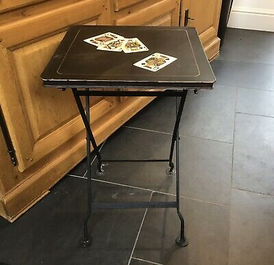 Vintage Folding Card Table Hand Painted Metal Games Table • 75£