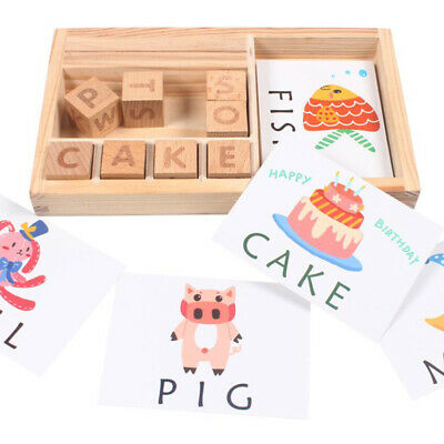 3 In 1 Baby Toddler Learning Game Wooden Spelling Cards Early Educational Toys • 9.99£