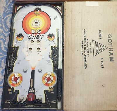 *Gotham Pressed Steel New York USA 1930's Big Shot Pinball Bagatelle Game Boxed* • 90£