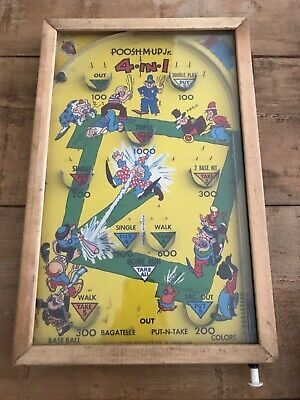 Vintage Poosh M Up Jr Base Ball Pinball Bagatelle Game Sports Rare • 165£