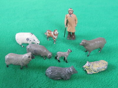 Britains Etc Lead Farm : Shepherd, Sheep Dog And Flock Of Sheep • 14.99£
