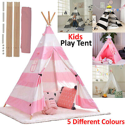 Large Kids Teepee Tent Wooden Playhouse Black Pink Grey White Gift For Boy Girl • 20.99£