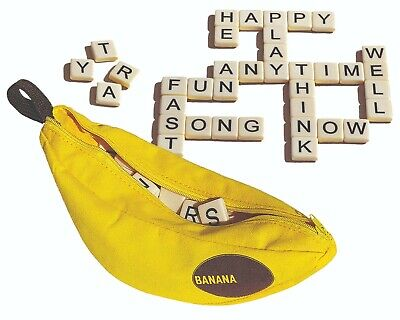 Bananagrams Family Word Crossword Fun Game Lettered Tiles With Banana Carry Case • 9.99£