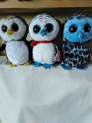 Ty Beanie Boos Bundle Of Owls, Oliver, Nester And Yago • 12£