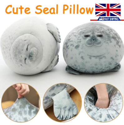 UK Kids Chubby Blob Seal Plush Toy Animal Cute Ocean Pillow Pet Stuffed Doll New • 11.58£