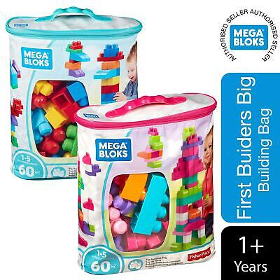 Mega Bloks First Builders Big Building Bag, Blue Or Pink, 60pcs • 11.99£