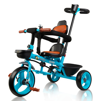 Blue 3-in-1 Trike For Kids With Parent Push Handle And Removable Straps, AS003B • 49.99£