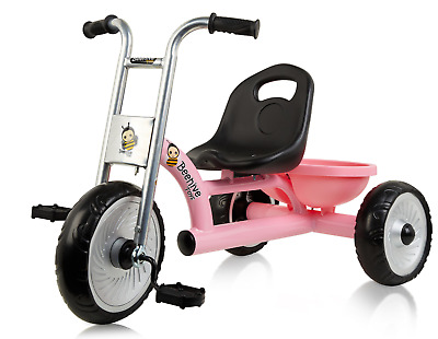 Pink Easy Rider Trike For Kids With Retro Style Frame, Girls Tricycle • 39.99£
