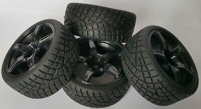 1/10 RC Car On Road/rally/touring Wheels & Tyres X4 Block Tread • 12.99£