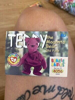 Ty Beanies Babies Series 2 Cards  Teddy The Magenta Bear Old Face  • 17.80£