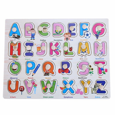 New Baby Toddler Jigsaw Kids Puzzle Alphabet Letters Animal Wooden Learning Toys • 7.99£