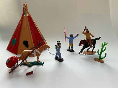 Timpo Toys Wild West - Teepee, Squaw With Papoos & Travois, 2 Braves One Mounted • 5.99£
