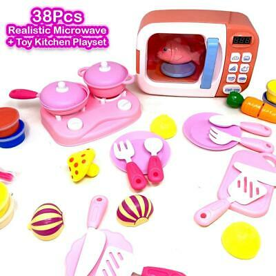 Kids Pretend Play Oven Toy Microwave Set With Play Food Accessories • 16.99£
