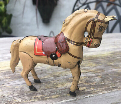 Rare Vintage Small Tinplate Wind Up Horse Made In US Zone Germany 1950 • 49.99£